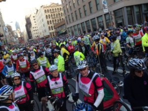Some of the 25,000 riders behind us.