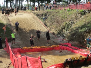 Over the flames and into the ice cold water! Great obstacle!